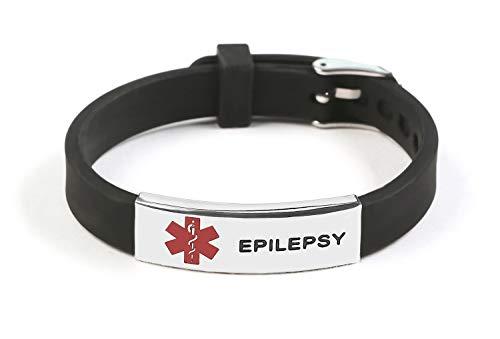 Epilepsy Medical Alert ID Bracelet Silicone Wristband Black Adjustable Size for Kids Women Men
