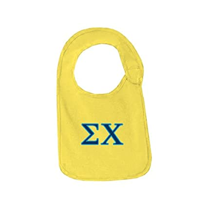 collegefangear sigma chi yellow baby bib sigma chi greek letters