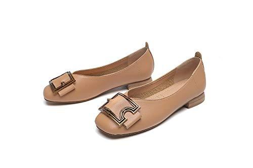 Metal Marrón Boca Cómoda Solo Mujeres Temperamento Baja Hebilla Cuadrada Moda Puro Zapatos Color Cabeza Las Mocasines De aTpqBPwW