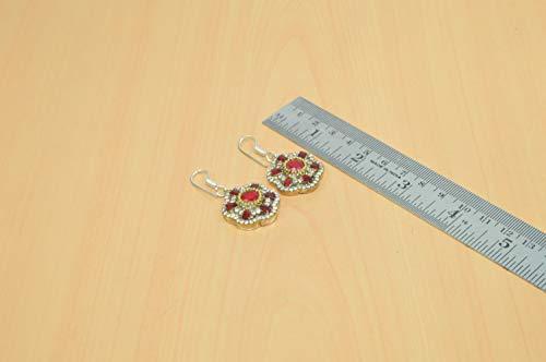 (Wonderful Silver Solid Brass Red Ruby Two Tone Hook Dangler Earring V02007)