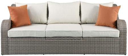Acme Salena 3 Piece Wicker Patio Loveseat in Beige and Gray