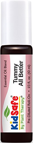(Plant Therapy KidSafe Tummy All Better Synergy Pre-Diluted Essential Oil Roll-On. Ready to use! Blend of: Petitgrain, Dill, Chamomile Roman, Spearmint and Ginger. 10 ml (1/3 oz). )