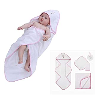 5 Pieces Baby Bath Towel Set Bunny, Premium Soft, Absorbent 100% Cotton Terry Baby Hooded Towel, Blankets, Washcloths, Sponge for Boys and Girls, Great Shower Gift for Newborn and Infant, Pink