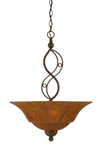 Toltec Lighting 234-BRZ-53819 Jazz Three-Bulb Uplight Pendant Bronze Finish with Tiger Glass, 20-Inch