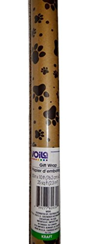 Viola Kraft 30 in x 10 ft Continuous Gift Wrap Roll Wrapping Paper ~ Paw Prints 809393