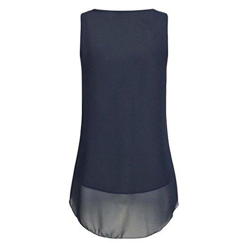 Tops V Sommer Weste Shirt 02 Tank Chiffon Ärmellos Hemdbluse Ausschnitt Rovinci Reißverschluss zurück Damen Unterhemd Dunkelblau Frauen Elegant Bluse aushöhlen Vorne Unregelmäßigkeit T wCpCPq