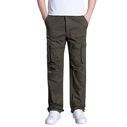 (Men's Cargo Pants Multi Pocket Straight Sports Pants Breathable Lightweight Military Camo Work Pants by Lowprofile)