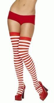 Bristol Novelty BA034 Striped Stockings, Red/White, One Size