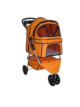BestPet 3-Wheel Pet Stroller, Classic Orange