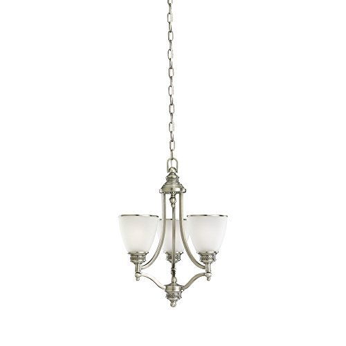 Sea Gull Lighting 31349-965 Laurel Leaf Three-Light Chandelier with Etched Ripple Glass Shades, Antique Brushed Nickel Finish