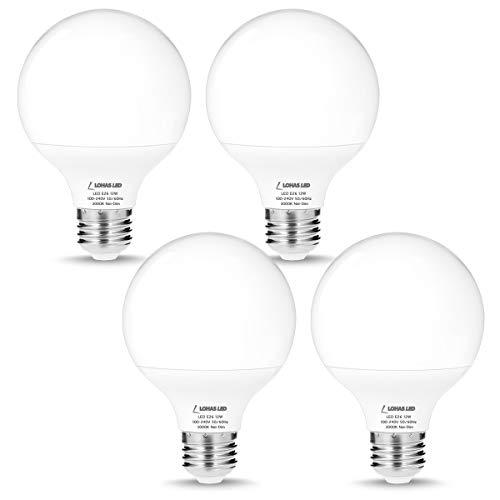 LOHAS Soft White G25 Globe Light Bulb, E26 LED 3000K, 12W (75W-100W Equivalent) Light Bulb, Non-dimmable LED High Bright 1200 Lumens LED Bulb Home Lighting, Vanity Mirror Lights Bulbs, Bedroom 4 Pack