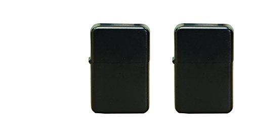 Thirsty Rhino Klik, Windproof Refillable Oil Wick Lighter with Vintage Flip Top and Aluminum Gift Case, Set of 2 (Black) (Flint Flip Top Cigar Lighter)