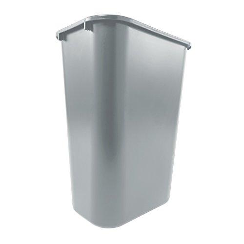 Rubbermaid Commercial Products FG295700GRAY Plastic Resin Deskside Wastebasket, 10 Gallon/41 Quart, Gray
