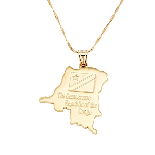 18K Democratic Republic of the Congo National Map Gold Plated DRC Kinshasa Pendant Necklace ()