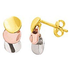 So Chic Bijoux © Boucles d'oreilles Femme Tricolores 3 Disques Ronds Pastilles Or Jaune Blanc & Rose 750/000 (18 carats)