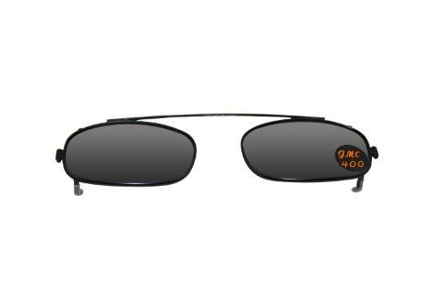Rectangle Black Frame Gray Lens Polarized Clip-on Sunglasses, Easy - Turn Glasses Prescription Sunglasses Into