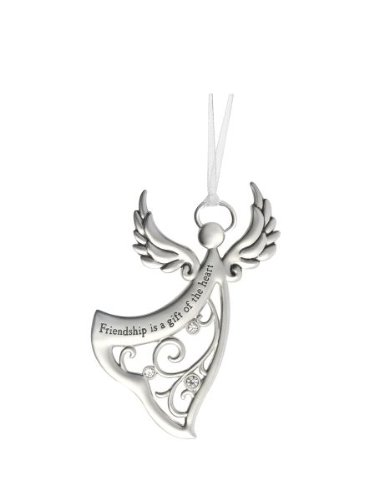 Ganz Angels By Your Side Ornament - Friendship is a gift of the heart,Silver / Black - Friend Angel Ornament
