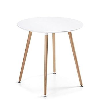 Designetsamaison Table à Manger Ronde scandinave Blanche 80cm - Alta ...