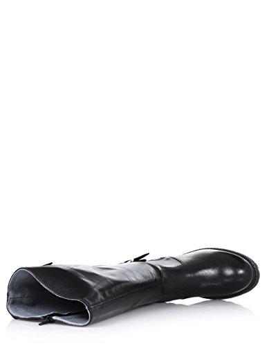 NERO GIARDINI - Botte noire en cuir, avec fermeture éclair latérale, boucles et fermeture éclair latérale décoratives, coutures visibles, fille, filles, femme, femmes