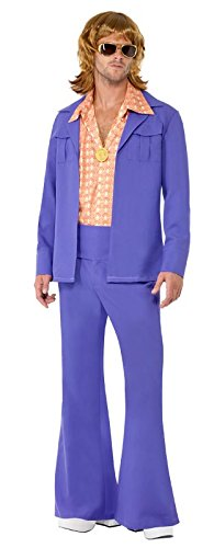 Smiffy's Men's 1970S Leisure Suit with Jacket Shirt Front and Trousers, Purple, Large