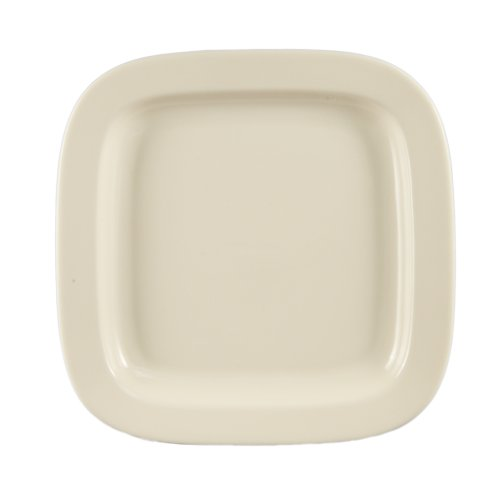 CAC China Rolled 11-Inch Edge Stoneware Square Plate , American White, Box of 12