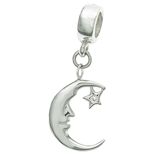 925 Sterling Silver New Moon Face with Star Dangle Pendant For European Charm Bracelet