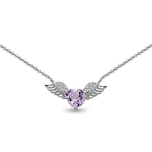 Sterling Silver Amethyst & CZ Heart Angel Wings Necklace for Girls, 15