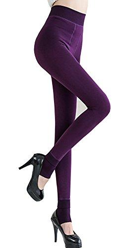 Fleece Thermal Shorts - Ouye Women's Full Length Fleece Lining Thermal Leggings Purple,One Size