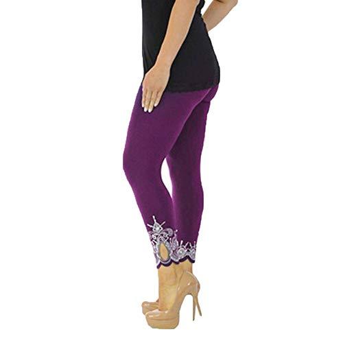 POQOQ Leggings Pants Women Sport Yoga Print Workout Running Fitness Elastic XXL Purple -