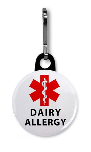 DAIRY ALLERGY Red Medical Alert 1 inch Zipper Pull Charm