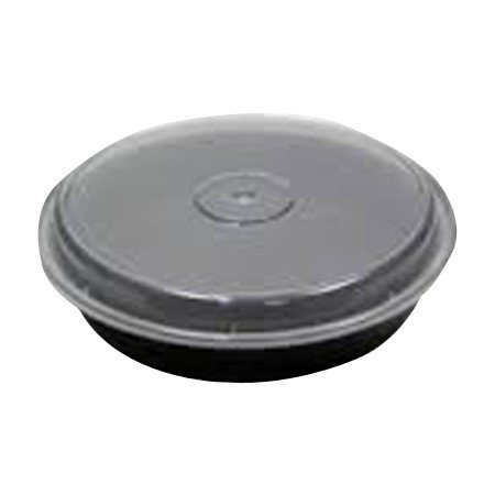 """48 oz. 9"""" x 1 3/4"""" Black Base Round Container with Clear Dom"""