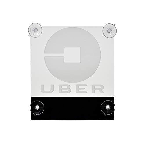Acryled designs UBER Sign Glow LED Light Logo Removable Car Driver Window Decal Sticker w Rechargeable Batteries - Taxi Rideshare Accessories Bundle
