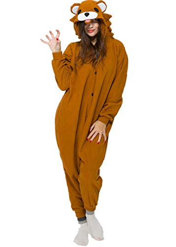Unisex Adult Brown Bear Pyjamas Halloween Costume One Piece Animal Cosplay Onesie -