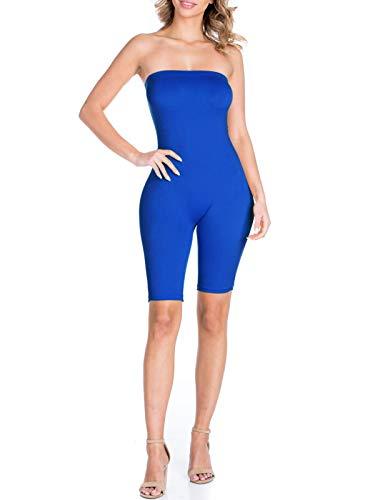 BEYONDFAB Women's Biker Short Pant Tube Jumpsuit One Piece Short Catsuit Royal Blue -