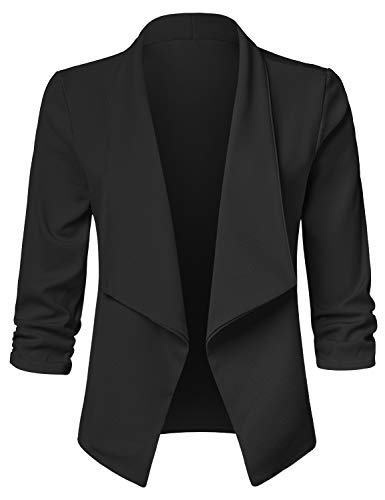 JSCEND Women's Casual Stretch 3/4 Sleeve Open Front Blazer Cardigan Jacket A-Black S ()