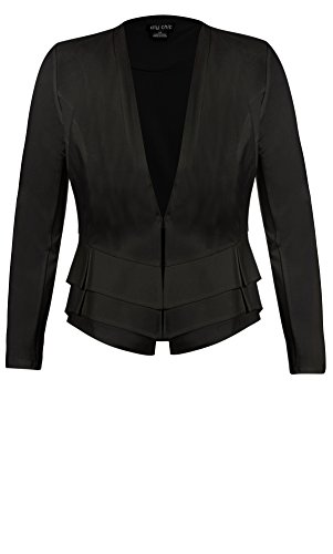 Designer Plus Size JKT TIERED RUFFLE - Black - 18 / M | City Chic