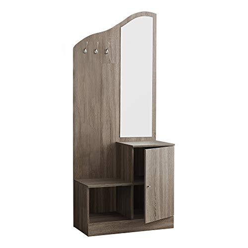 Monarch Specialties 74.5 in. Hall Tree with Storage Unit and Mirror