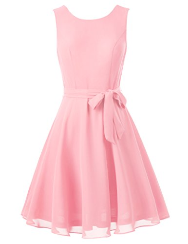 Women Chiffon Sleeveless A-line Pleated Party Cocktail Dress with Belt S KK625-3