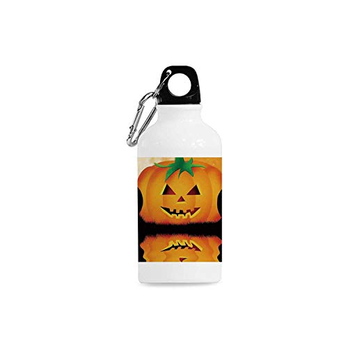 Halloween Decorations Simple Aluminum Bottle,Spooky Carved Halloween Pumpkin Full Moon with Bats and Grave Lake for Sport,2.6