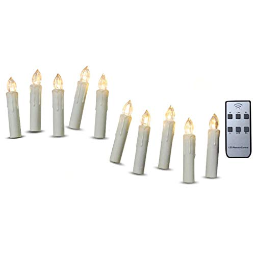 (TBW Flameless Mini Simulated Wax Dipped Flickering LED Taper Candles with Remote and Removable Clips for Baroque Candle Chandelier)