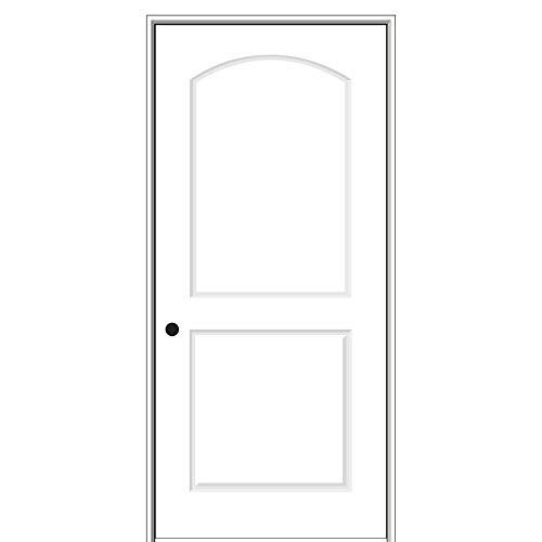 National Door Company ZZ364266R Solid Core, Primed, Molded 2-Panel Archtop, Right Hand, Prehung Interior Door, 30