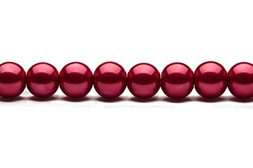 (12mm round metallic-tone maroon glass pearls 32inch sting)