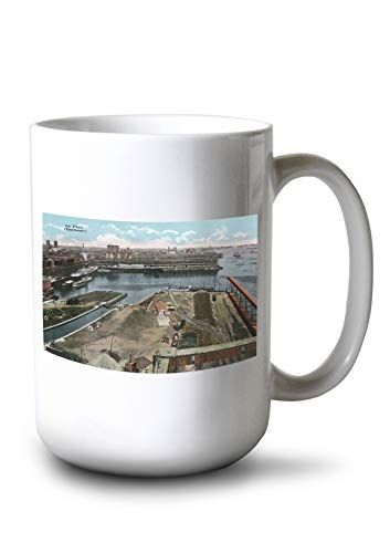 Lantern Press Montreal, Quebec - Aerial View of The Harbor (15oz White Ceramic Mug)