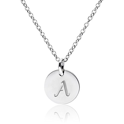Three Keys Jewelry Silver Tone Initial Necklace 0.63 Disc Alphabet Pendant Necklace 18 Initial Disc Necklace Stainless Steel