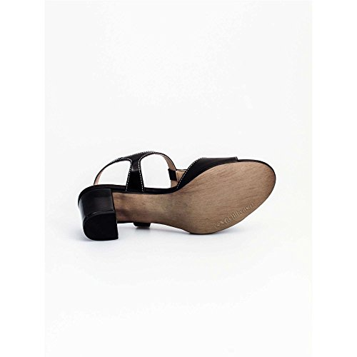 femme sandale ouverte cuir noir art pièce K95328P