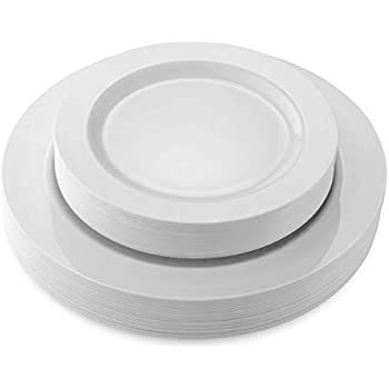 50 Disposable White Heavy Duty Plastic Plates   25 Dinner Plates and 25 Dessert or Appetizer Plates   Premium Combo Disposable Dinnerware Set   Great for Parties or Weddings. (50 Pack) by Bloomingoods