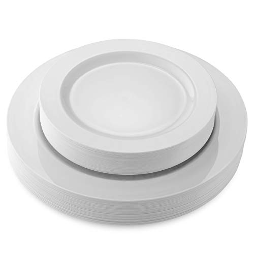 50 Disposable White Heavy Duty Plastic Plates |
