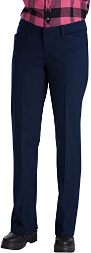 Dickies Women's Relaxed Straight Stretch Twill Pant, Dark Navy, 6 Long (Old Navy Khaki Pants)