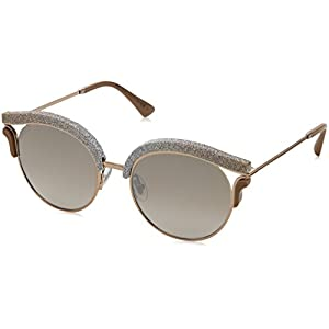 Jimmy Choo LASH/S 1RUNQ (Glitter Beige - Light Gold with Brown Gradient with Mirror effect lenses)