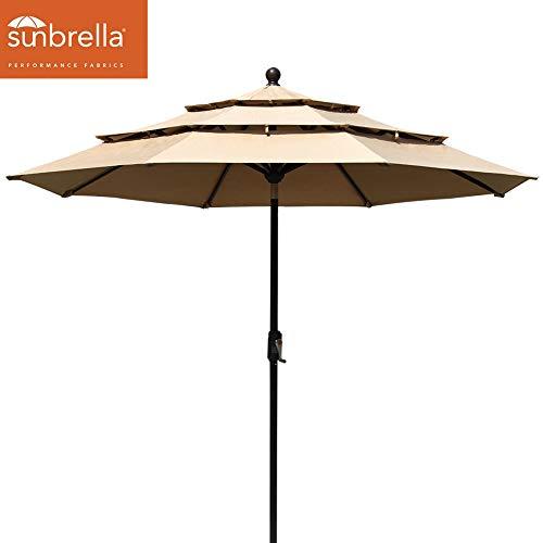 EliteShade Sunbrella 9Ft Patio Outdoor Table Umbrella 3 Layers with Ventilation (Sunbrella Heather Beige) (Umbrellas Wind For Best)